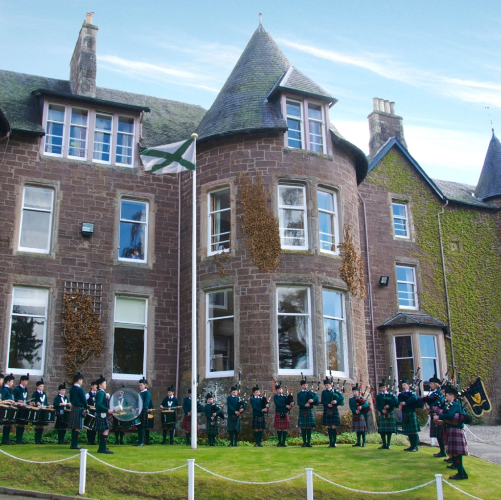 Ardvreck School bagpipes on the lawn prep school Scotland