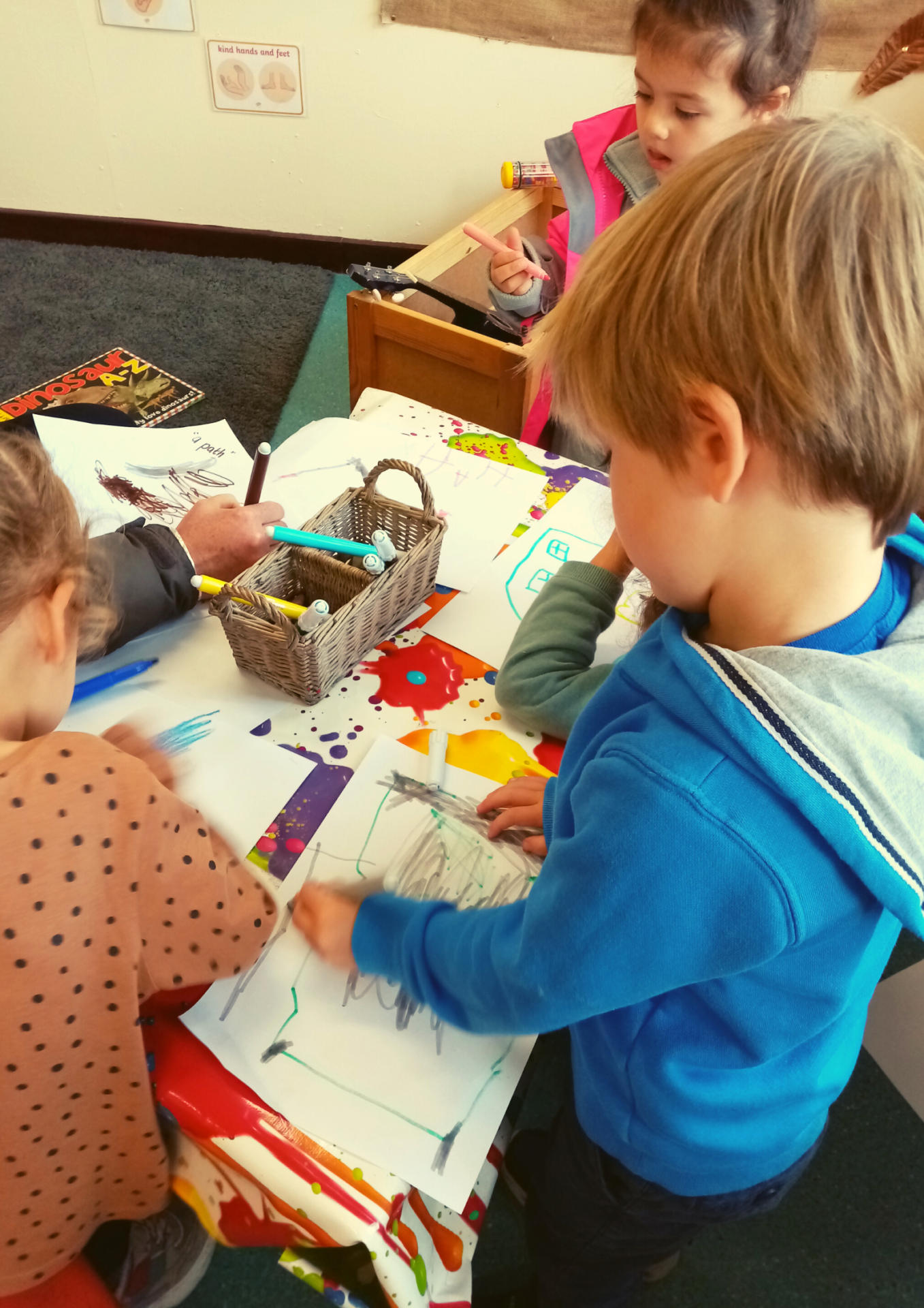 Ardvreck Nursery children writing and drawing mindful moment in Crieff